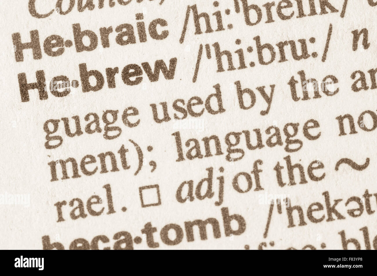Definition of word Hebrew  in dictionary - Stock Image