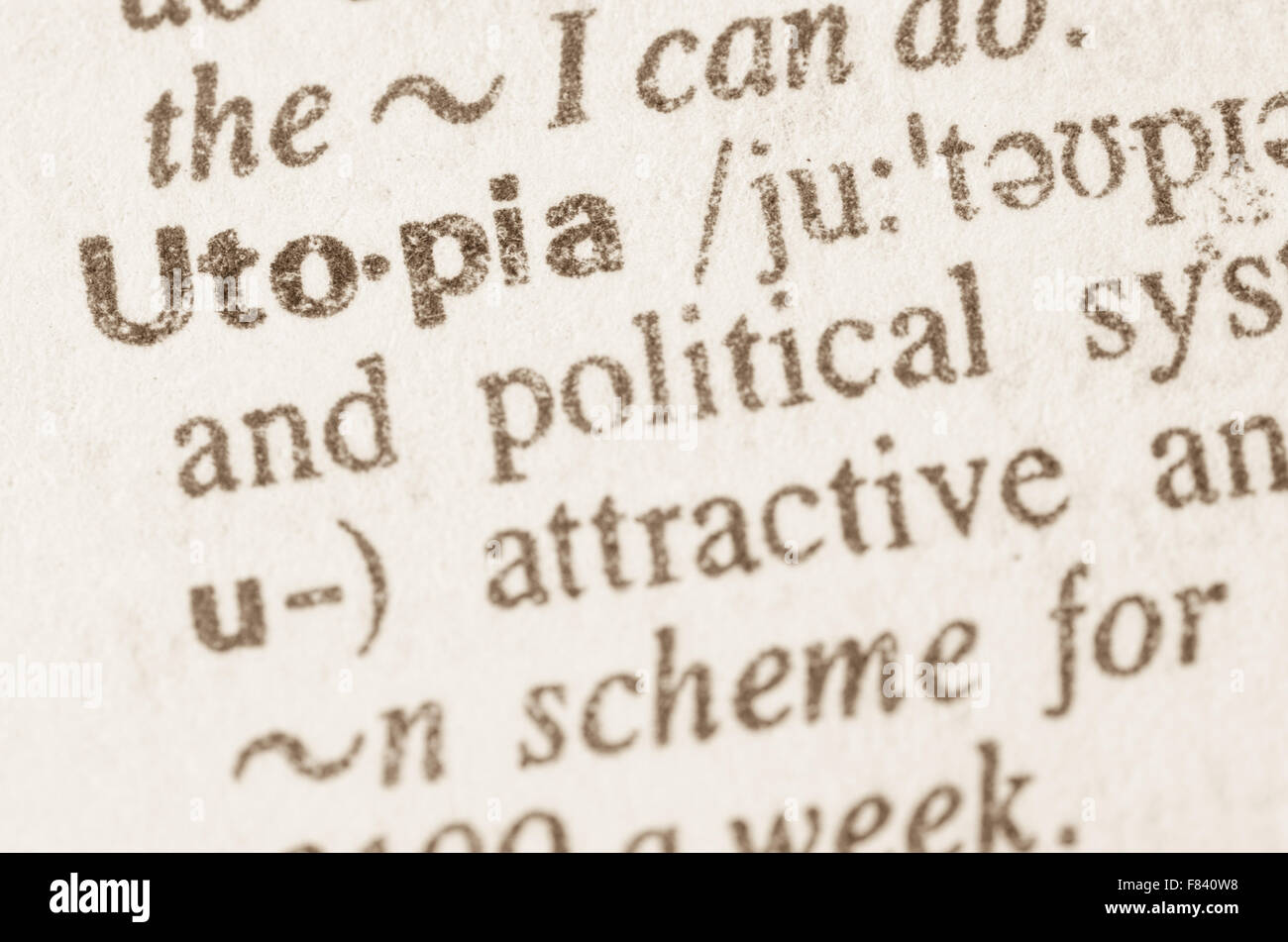 Definition of word Utopia  in dictionary - Stock Image