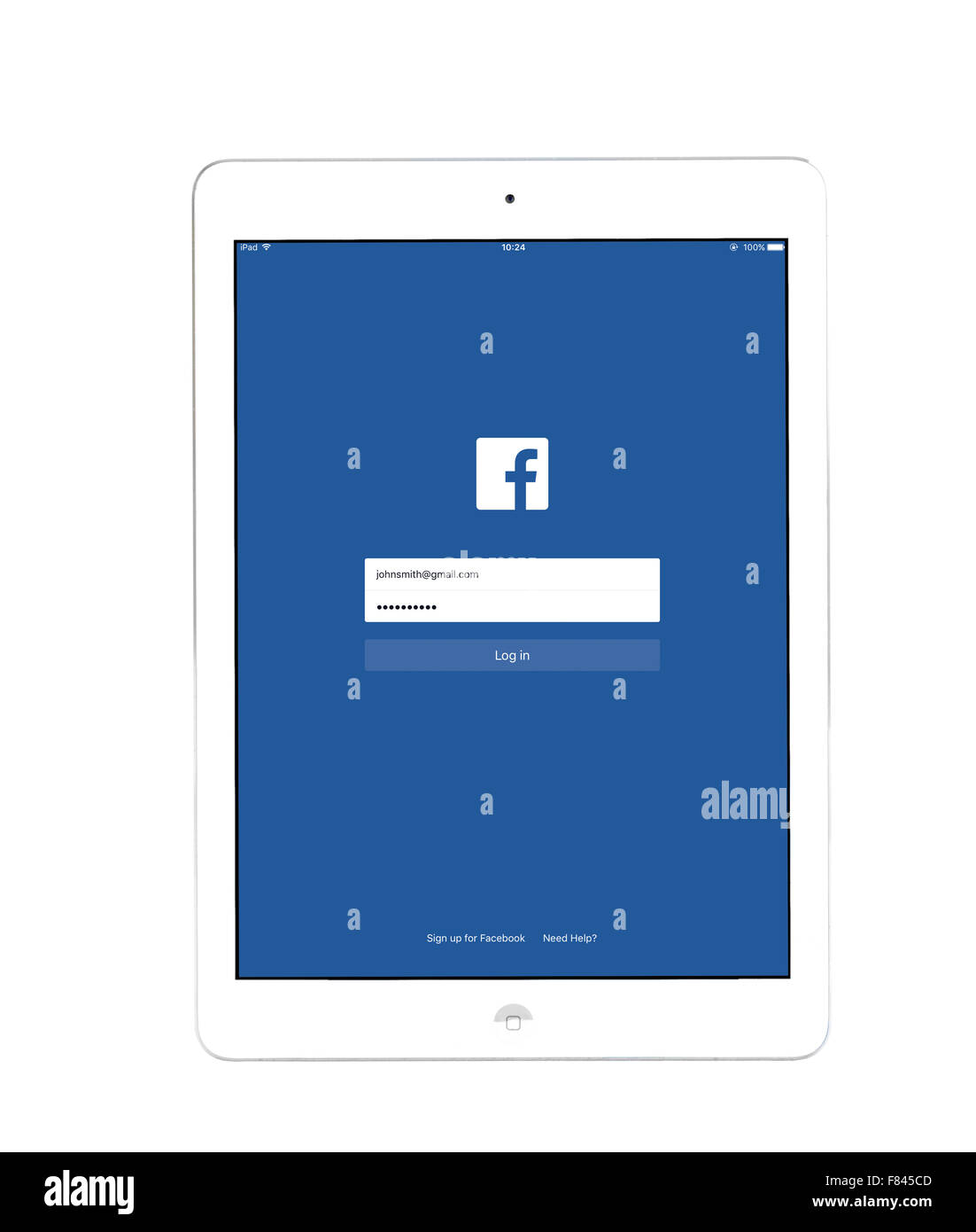 Log in page on the Facebook app, viewed on an iPad Air Stock Photo