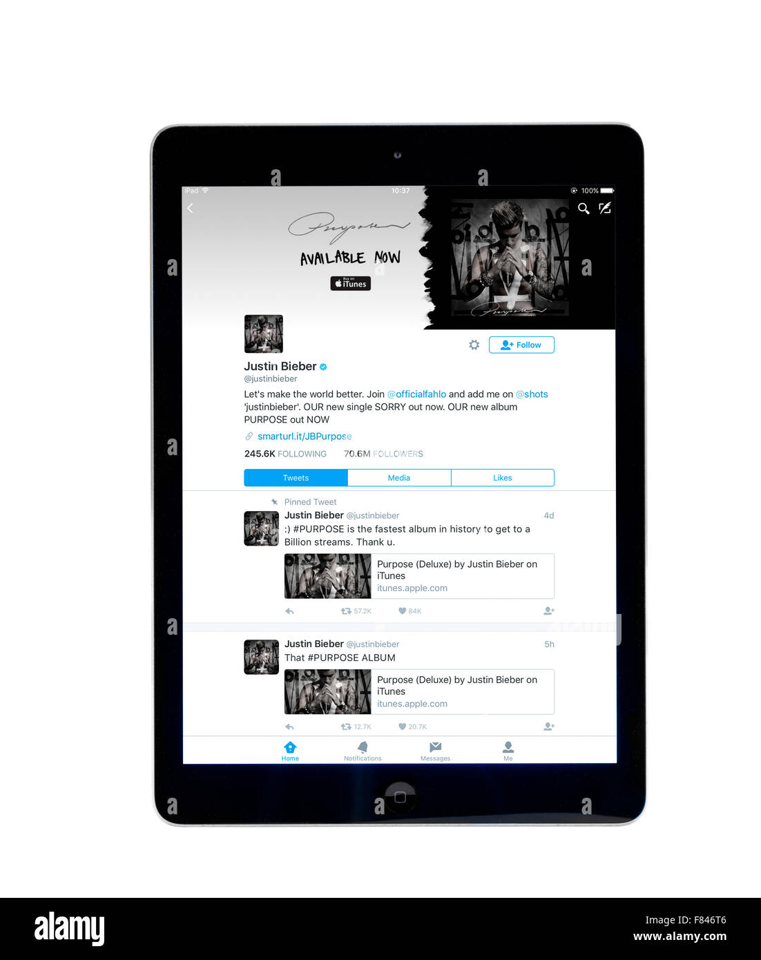 Justin Bieber's home page on the Twitter app, viewed on an iPad Air - Stock Image
