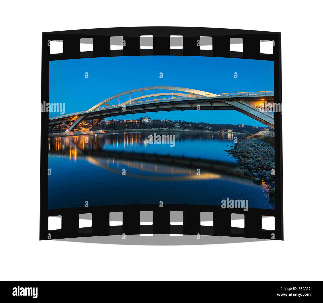 View over the Elbe river to the Waldschloesschen Bridge, opened 2013, Dresden, Saxony, Germany, Europe - Stock Image