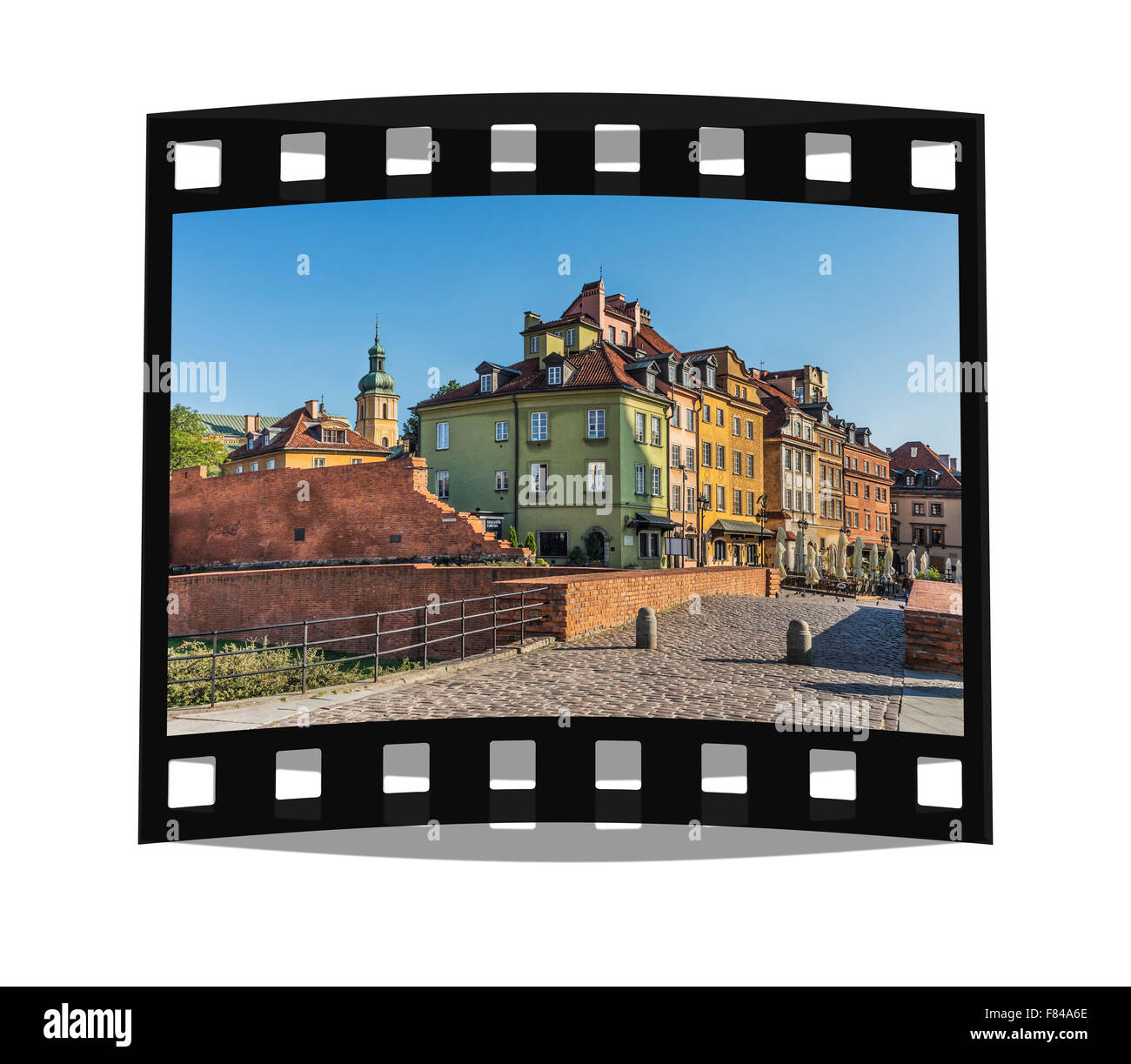 The Castle Square and parts of the old city wall, located in the historic old town of Warsaw, Masovia, Poland, Europe - Stock Image