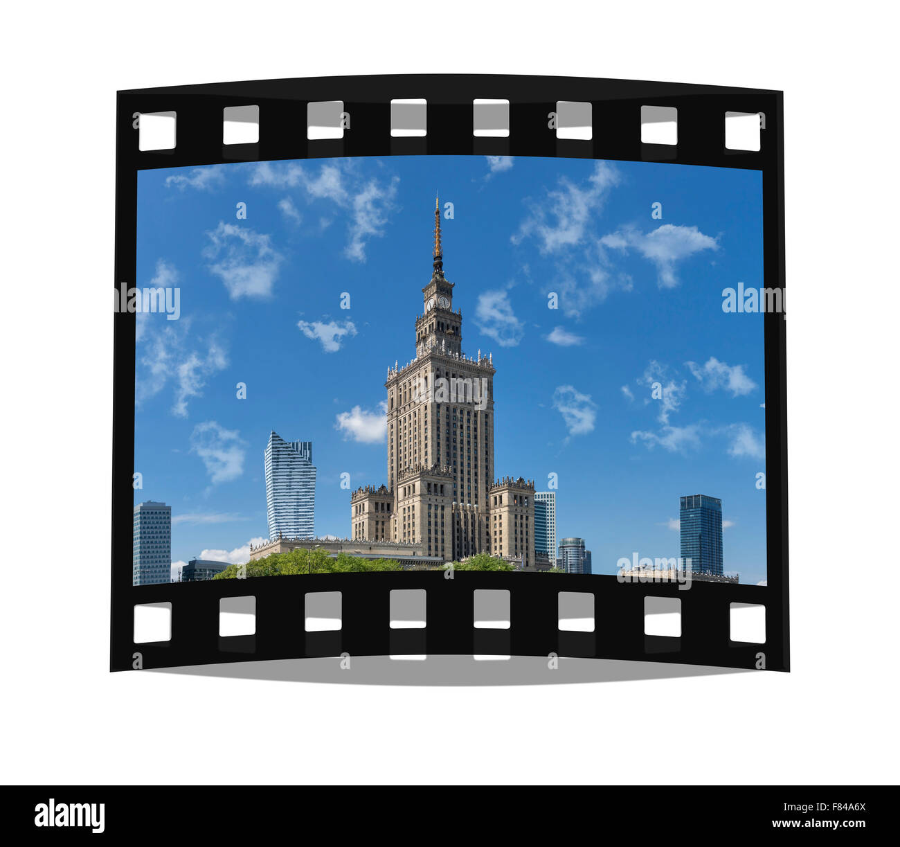 The Palace of Culture and Science was built from 1952 to 1955. The building is 231 meters high, Warsaw, Masovian, Stock Photo