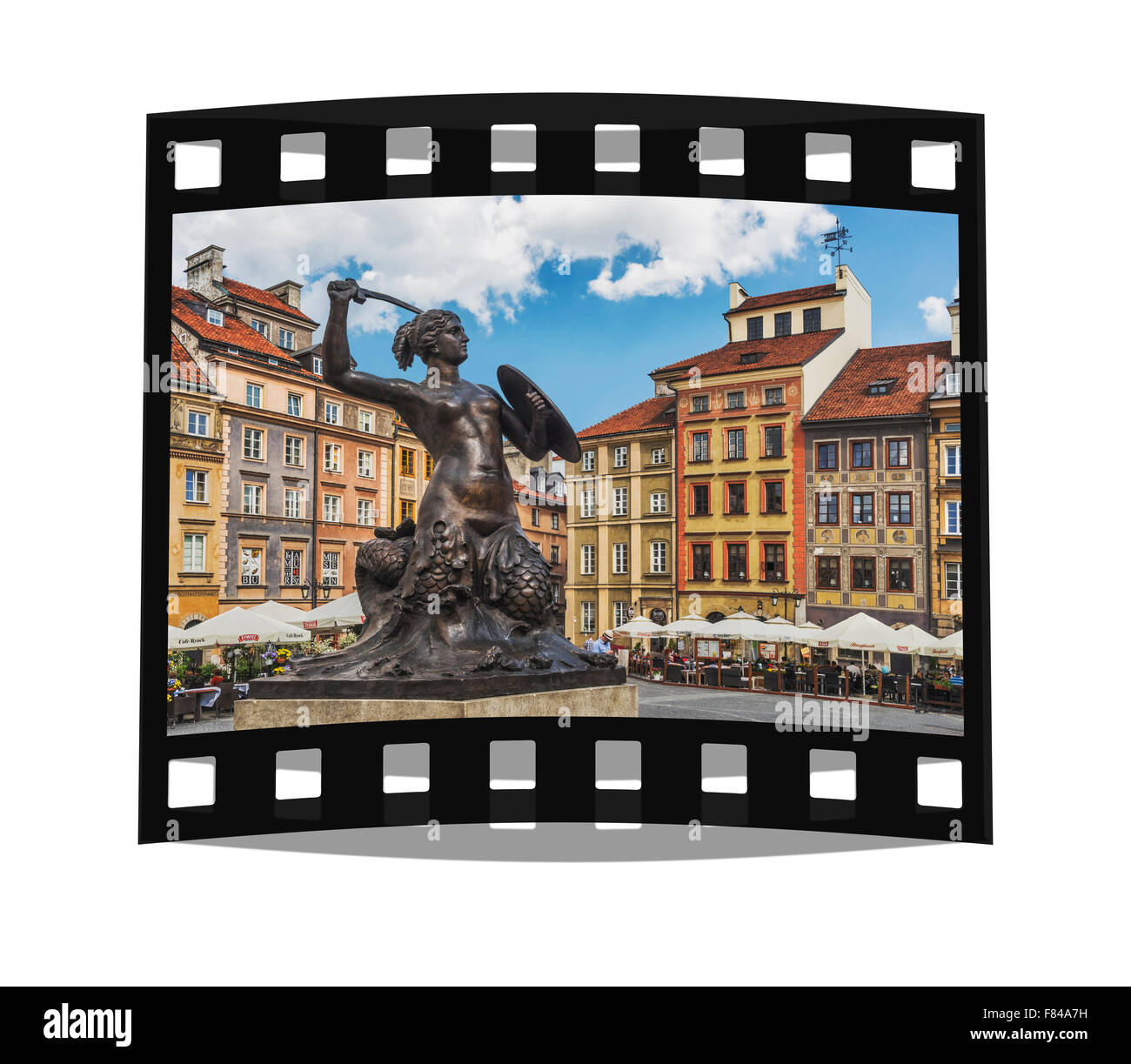 The Mermaid of Warsaw  is located on the old town market square (Rynek Starego Miasta), Warsaw, Masovian, Poland, - Stock Image