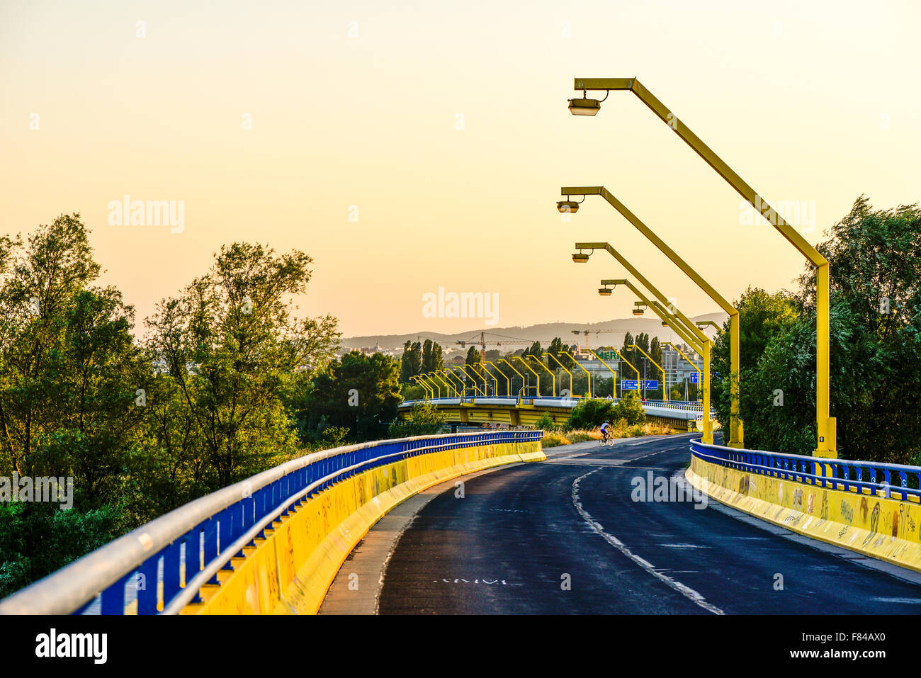 bridge Nordsteg, River Danube, Vienna, Austria Stock Photo