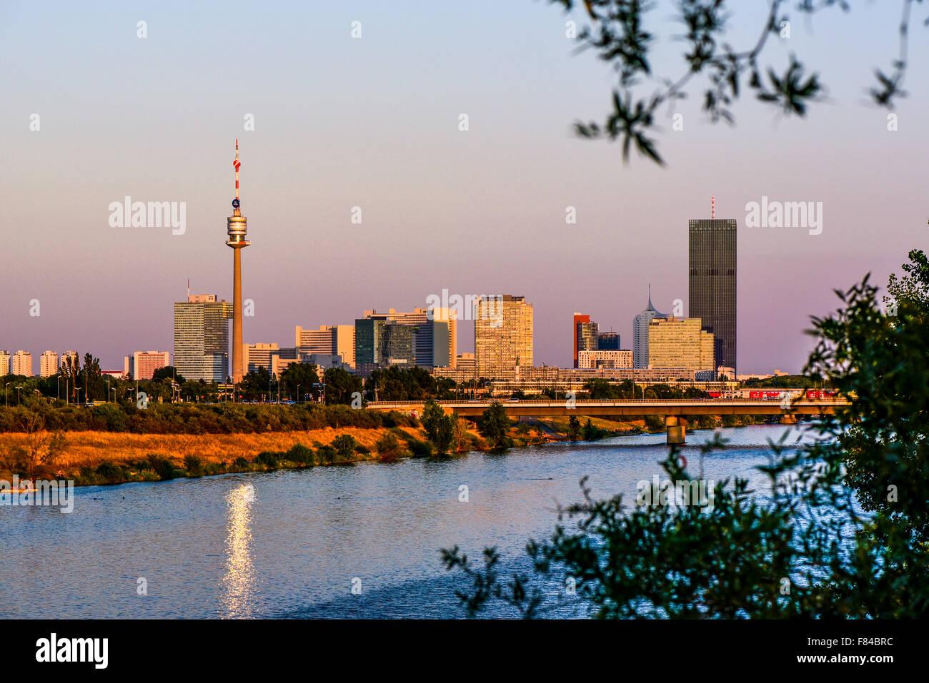 Danube city, river Danube, Vienna, Austria - Stock Image