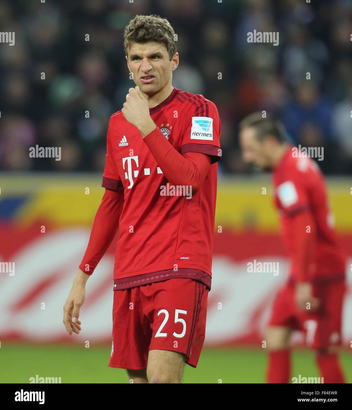 Germany, Bandesliga, Borussia Moenchengladbach vs Bayern Muenchen, Moenchengladbach, 05.12.2015: Thomas Mueller - Stock Image