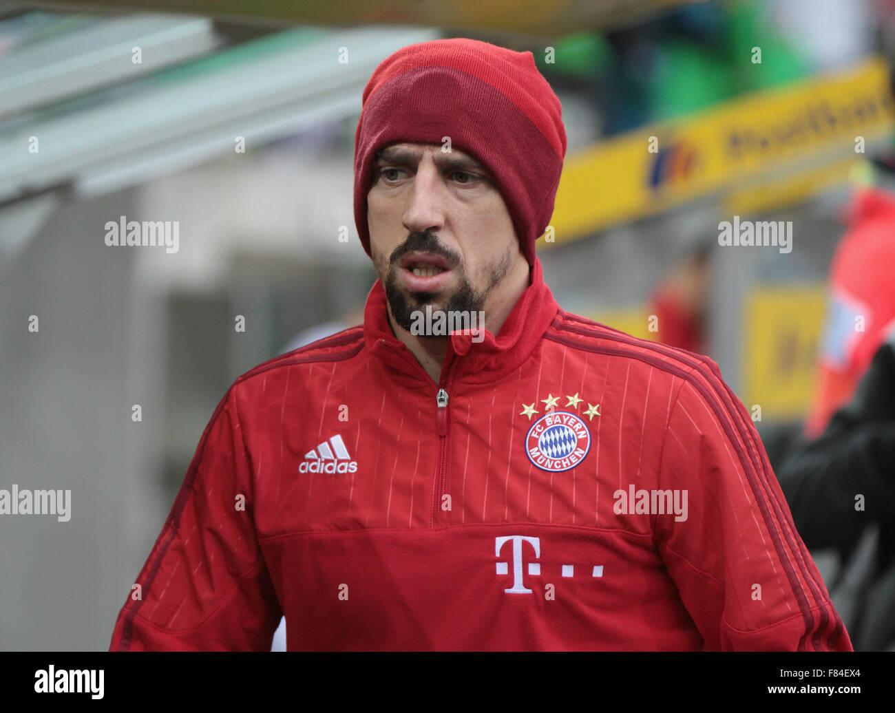 Germany, Bandesliga, Borussia Moenchengladbach vs Bayern Muenchen, Moenchengladbach, 05.12.2015: Franck Ribery (Bayern - Stock Image