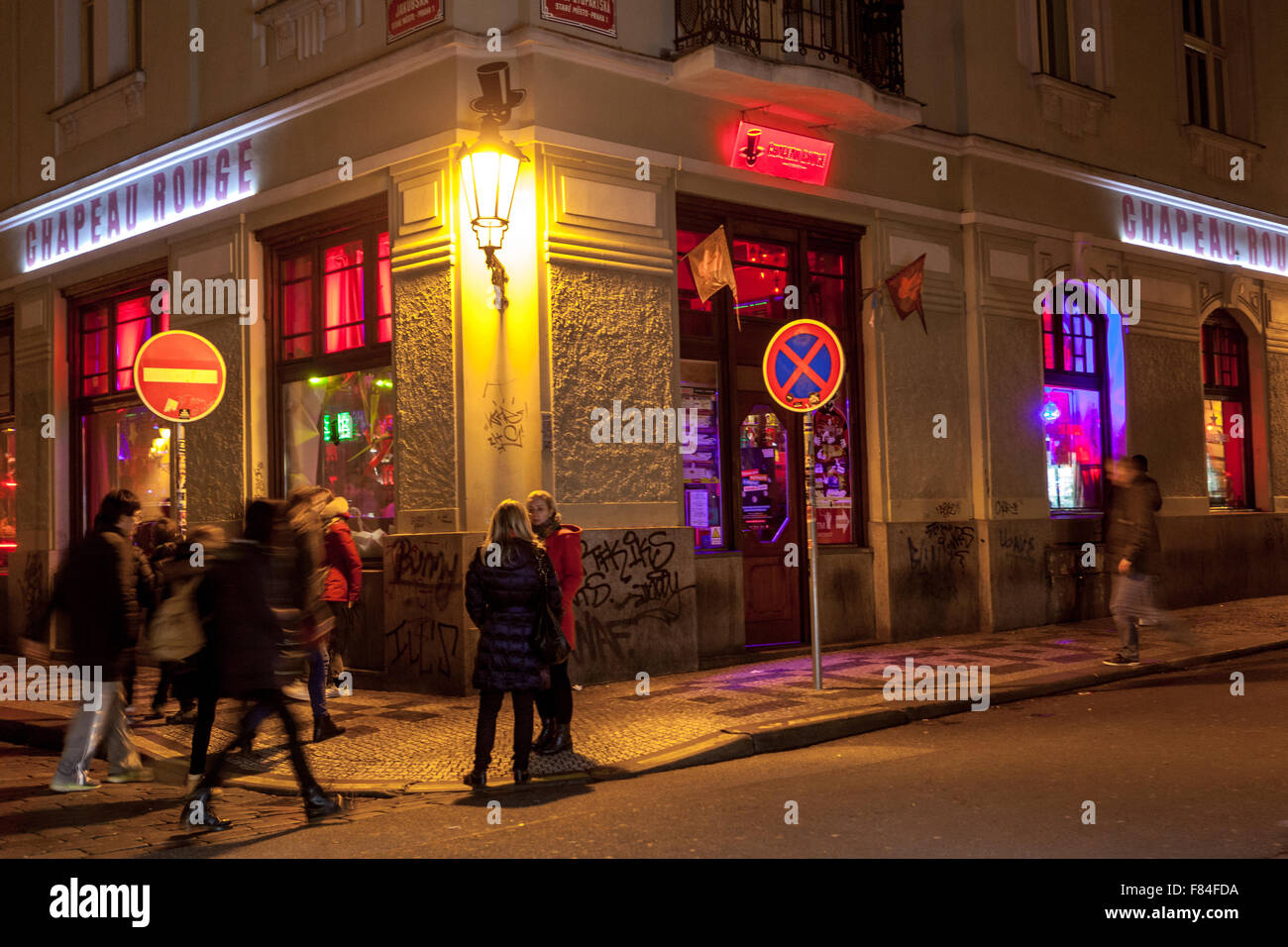 Chapeau Rouge bar nightclub, near Old Town Square.  Prague Czech Republic Europe - Stock Image