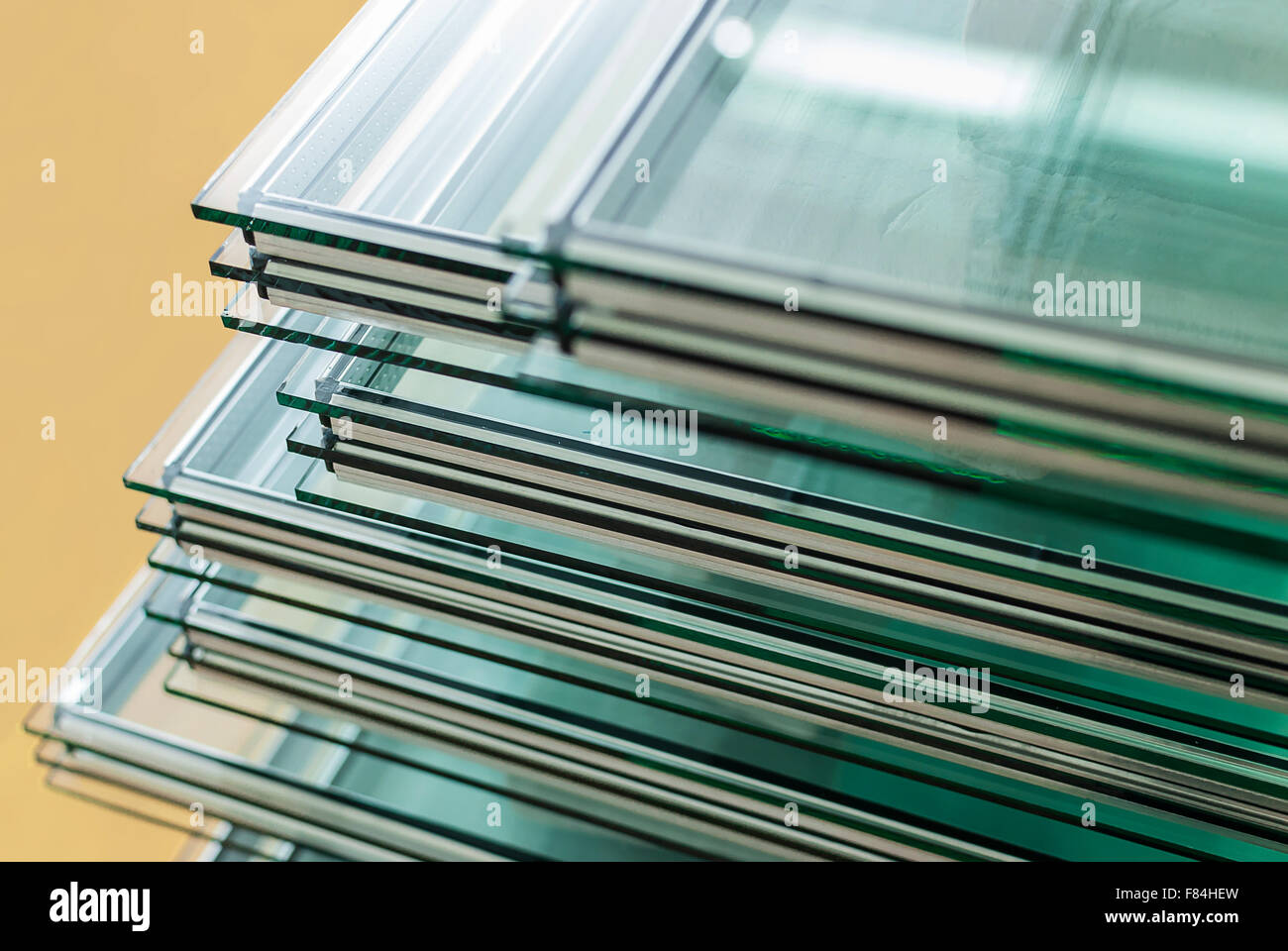 Sheets of Tempered Window Glass panels cut to size - Stock Image