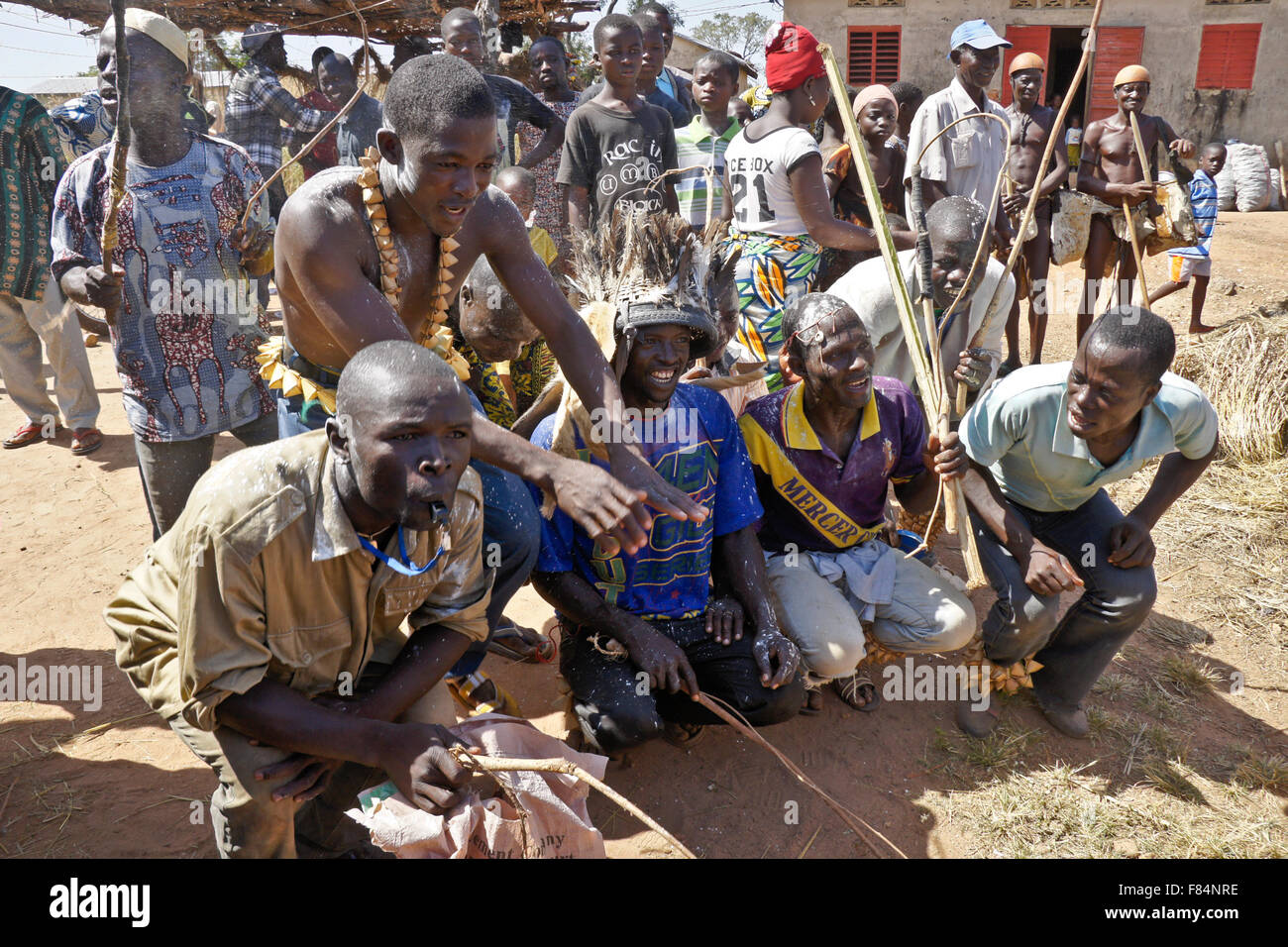 Fulani initiation by whipping (rite of passage to manhood), Copargo, northern Benin - Stock Image