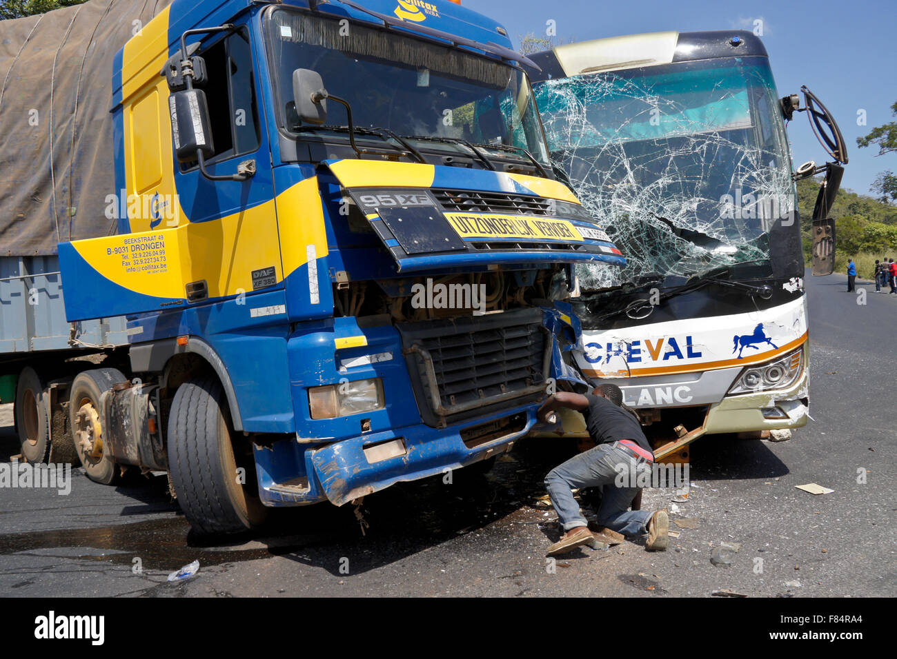 Collision on the mountain road between Djougou (Benin) and Atakpame (Togo), West Africa - Stock Image