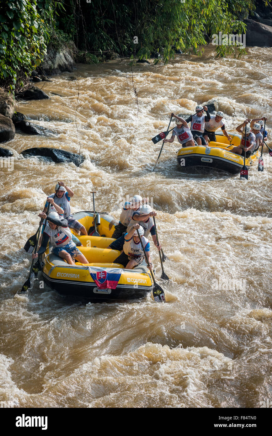 U19 men's teams of Slovakia and Turkey on Down River Race category during 2015 World Rafting Championship. - Stock Image