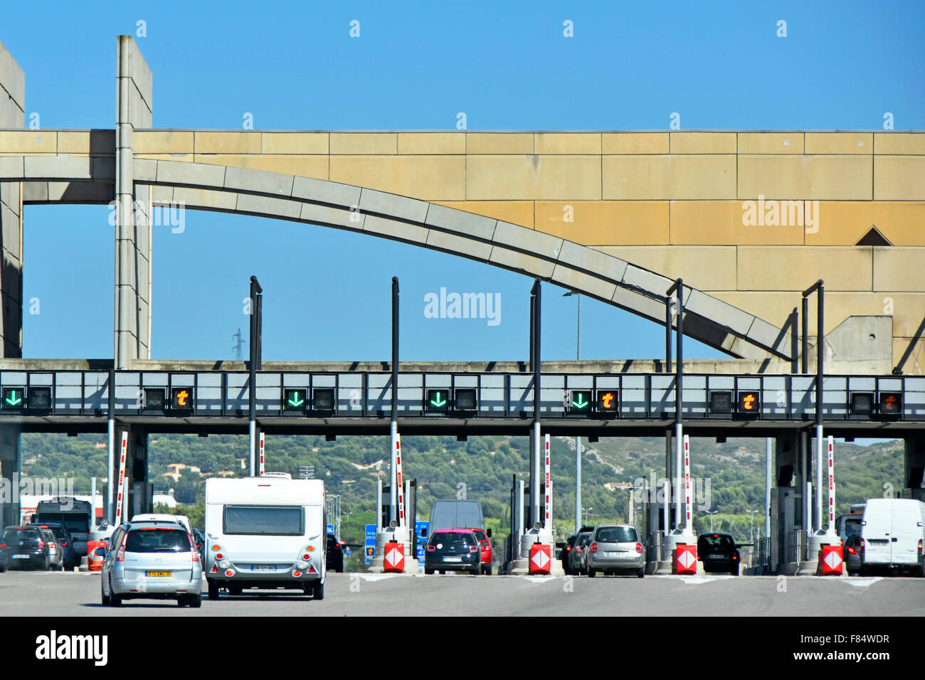 French Autoroute au Soleil motorway Provence typical toll booths and summer traffic - Stock Image