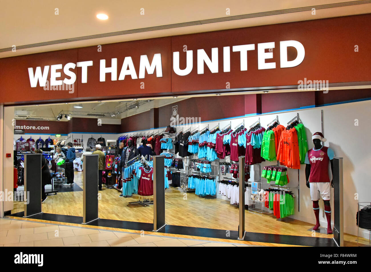 outlet store 134a5 60a22 West Ham United football club kit store open plan shop front ...