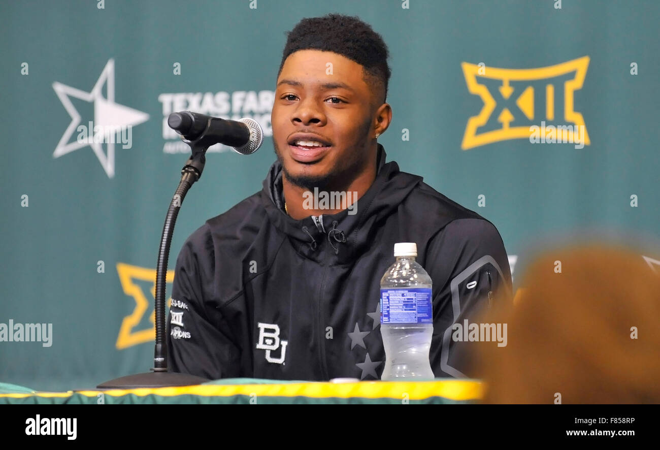 Waco, Texas, USA. 05th Dec, 2015. Baylor receiver Corey Coleman during a press conference after an NCAA college Stock Photo