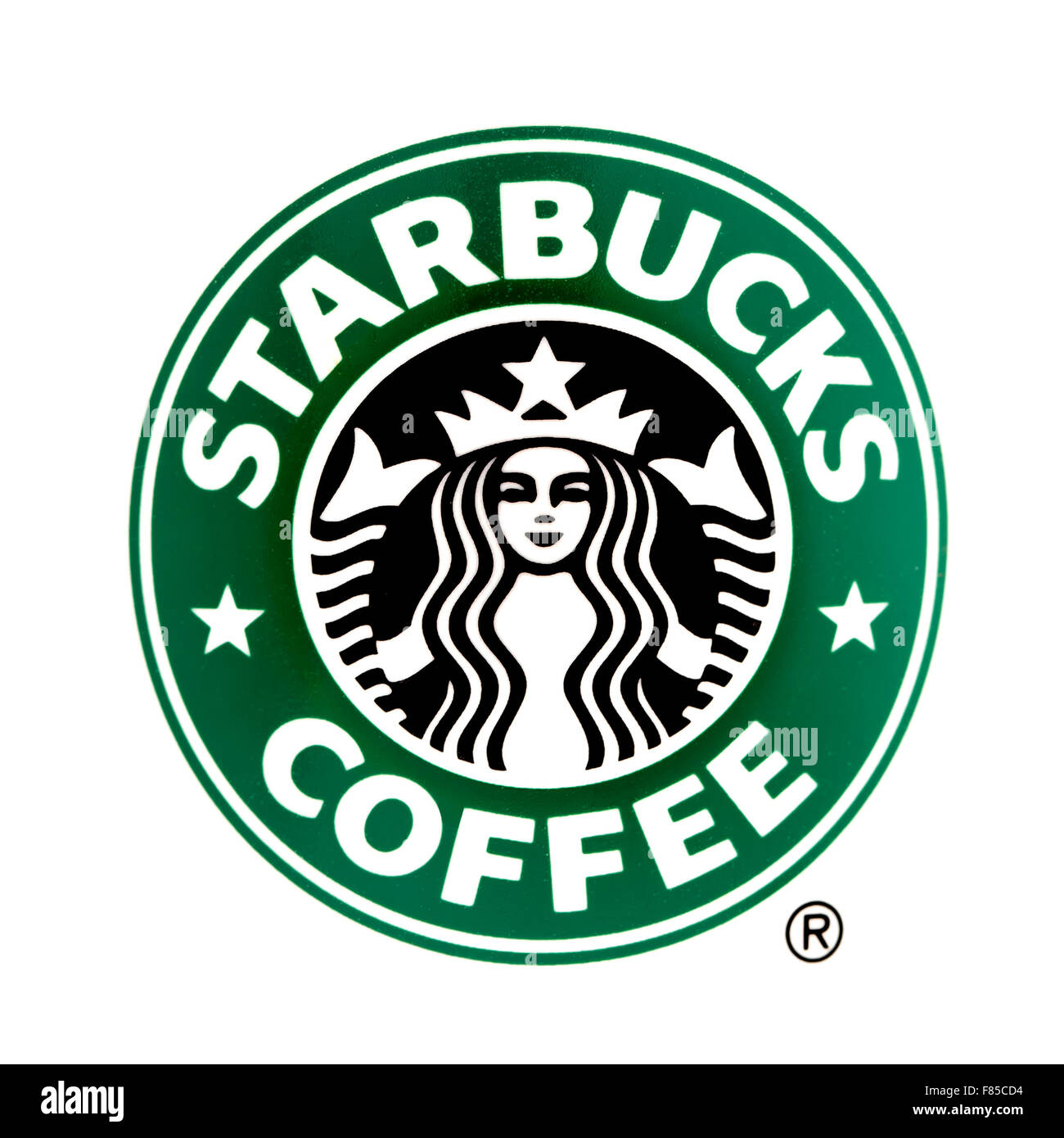 Starbucks logo on a White Background, Starbucks is the largest coffeehouse company in the world - Stock Image