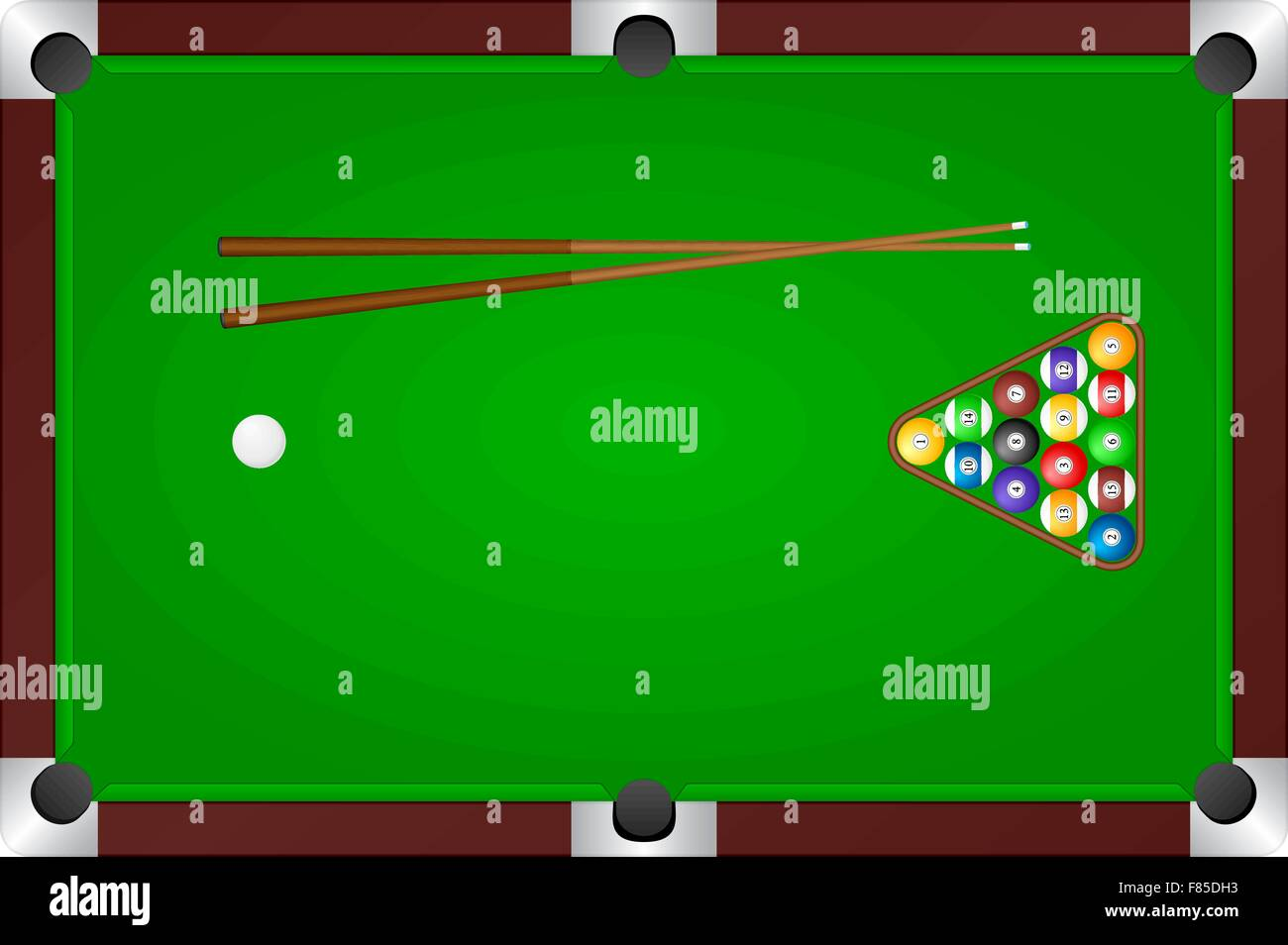 Pool table with balls and cue. Vector illustration. - Stock Vector
