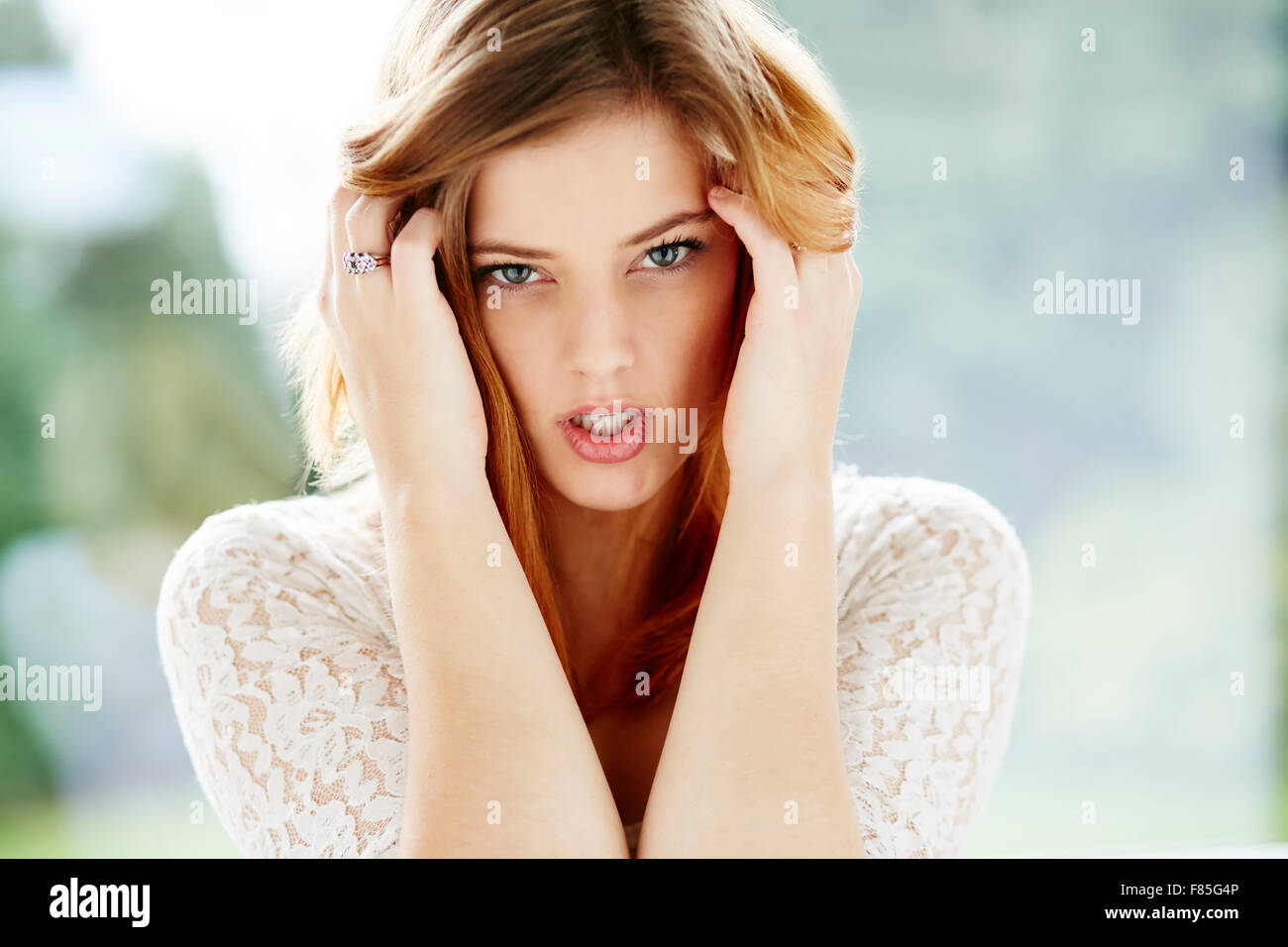 Sad looking girl - Stock Image