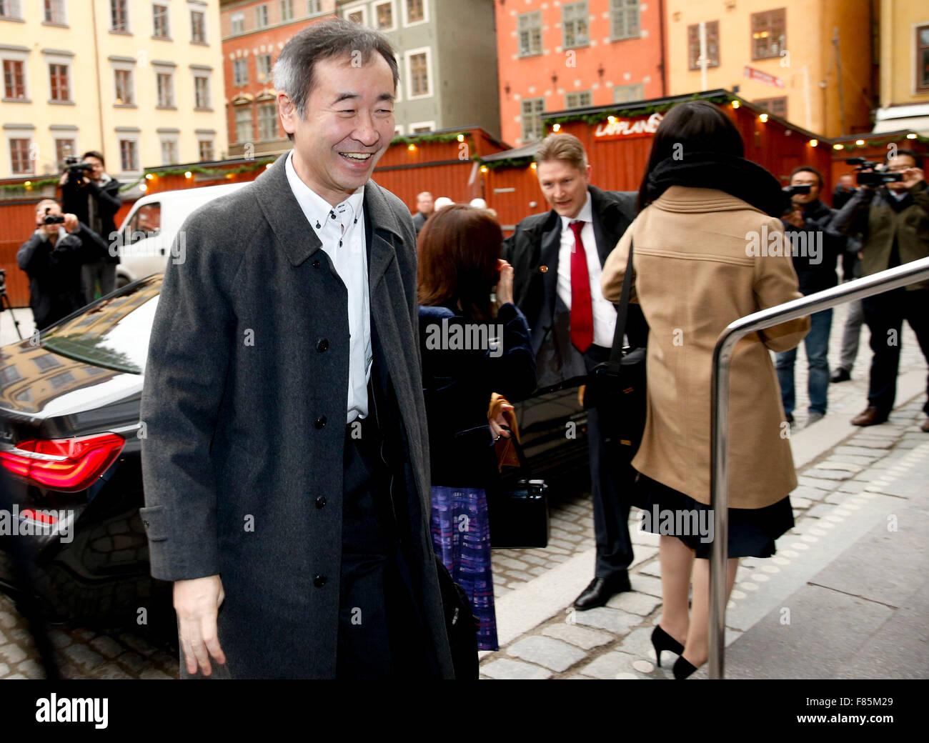 Stockholm, Dec. 6. 10th Dec, 2015. The 2015 Nobel Prize laureate for physics Takaaki Kajita arrives at Nobel museum Stock Photo
