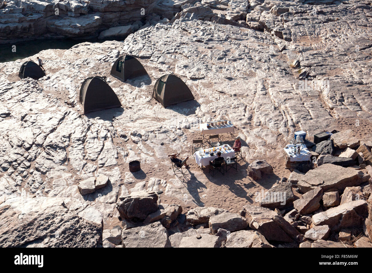 Campsite in Lower Fish River Canyon - Karas Region, Namibia, Africa - Stock Image