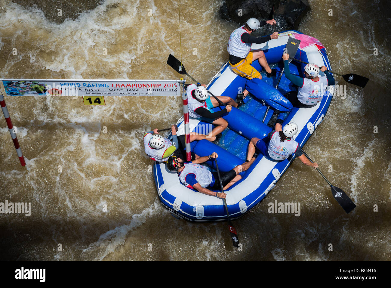 Russian U23 men's team during slalom race category on World Rafting Championship. - Stock Image
