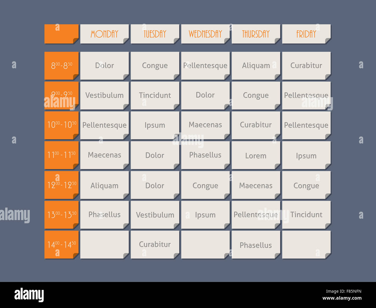 Orange Timetable Template Design Flat Style With Sample Text Stock