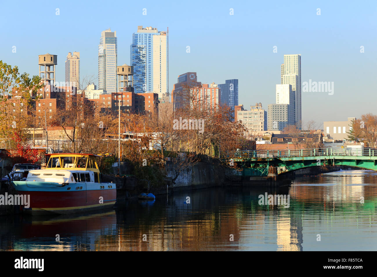 The Gowanus Canal, and the New Brooklyn Skyline - Stock Image