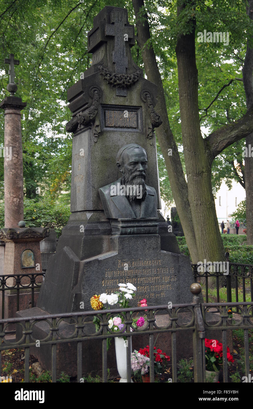 St Petersburg, Russia, Tikhvin Cemetery Dostoevsky - Stock Image