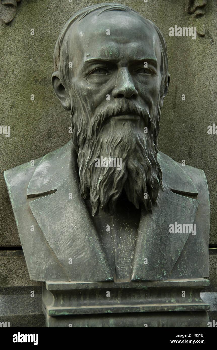 St Petersburg Russia, Tikhvin Cemetery, Dostoevsky - Stock Image
