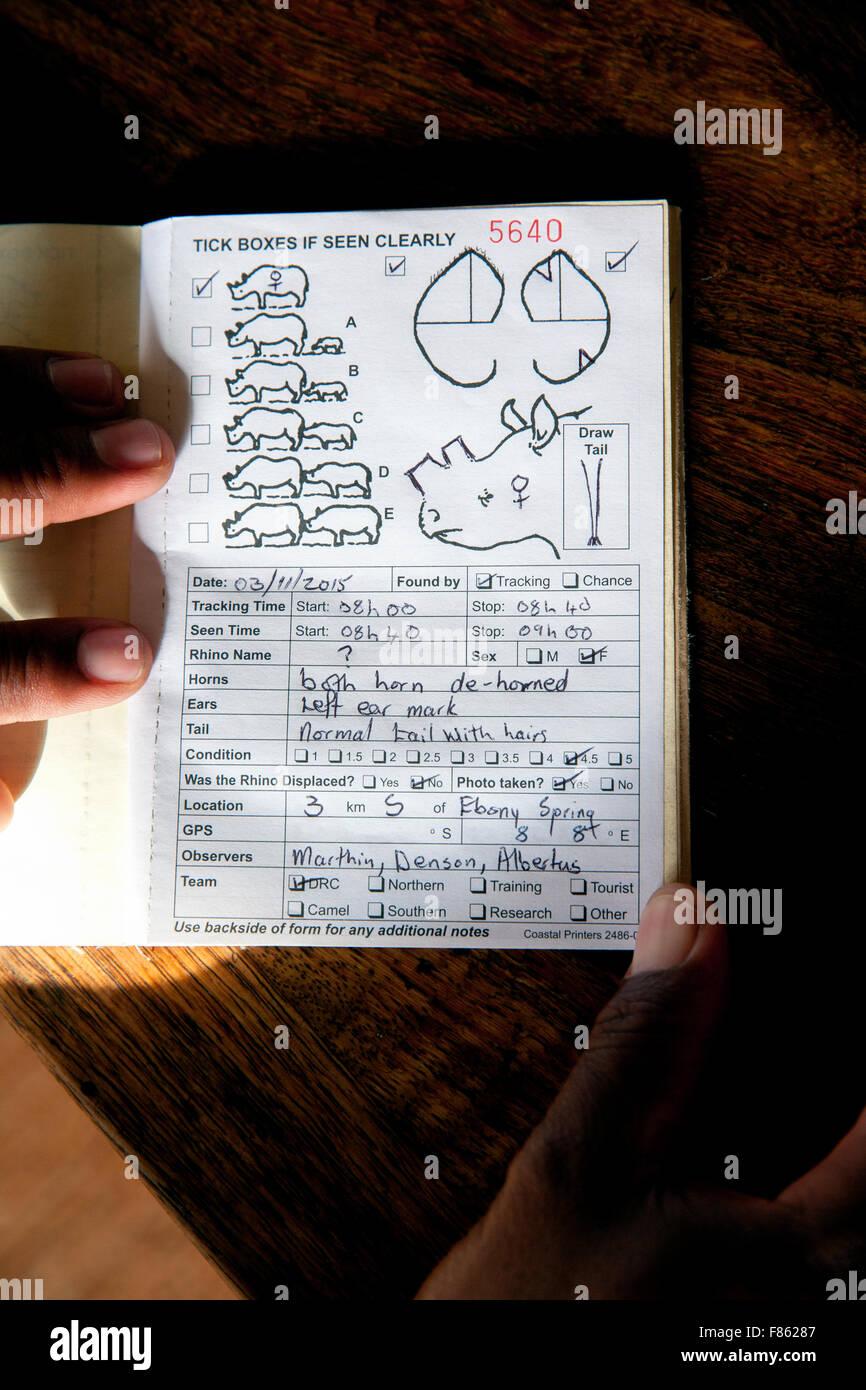 Rhino Sighting Notebook - Save the Rhino Trust - Desert Rhino Camp, Damaraland, Namibia, Africa - Stock Image
