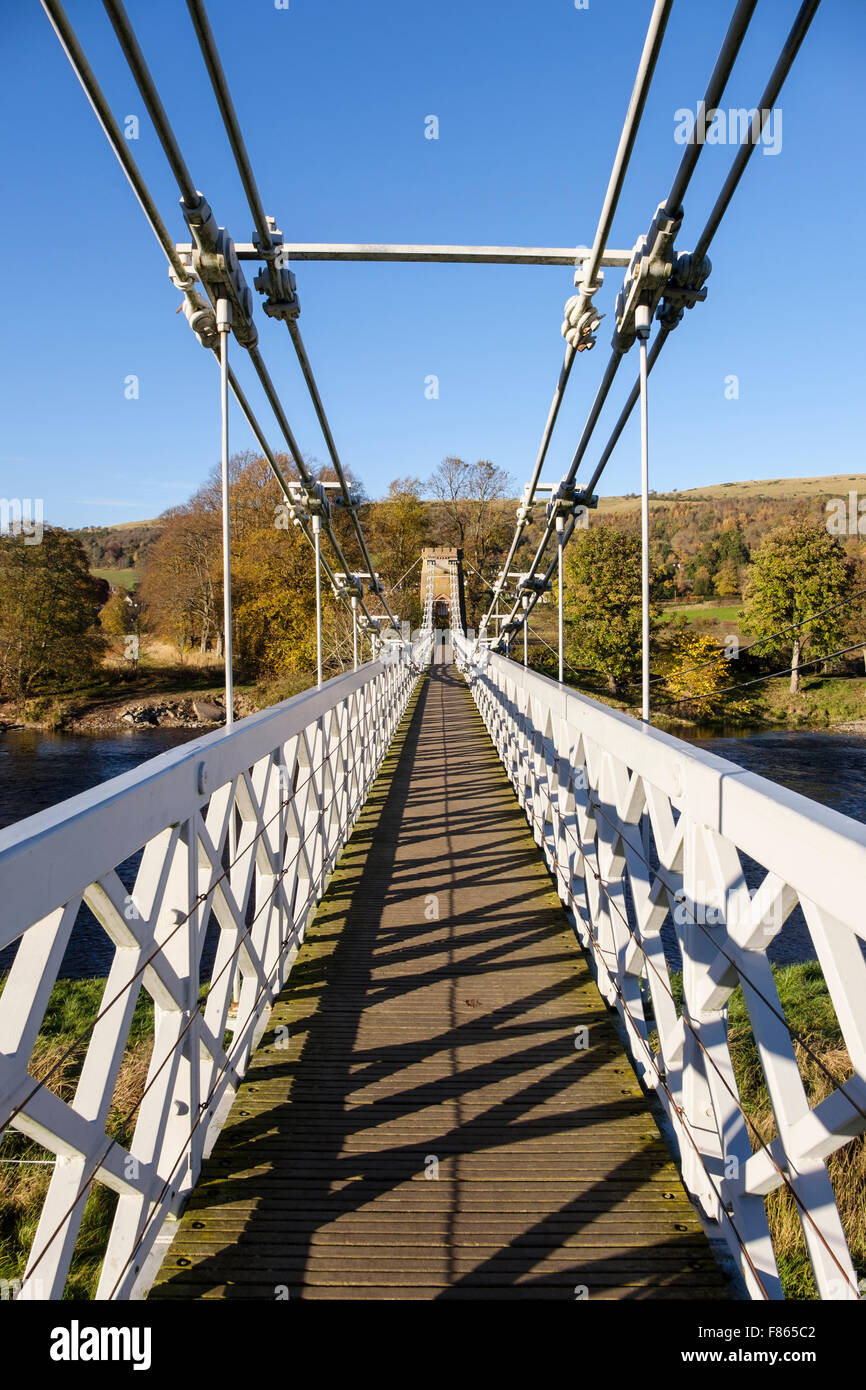 Looking along Chainbridge footbridge, route of Southern Upland Way across River Tweed. Melrose, Scottish Borders, - Stock Image