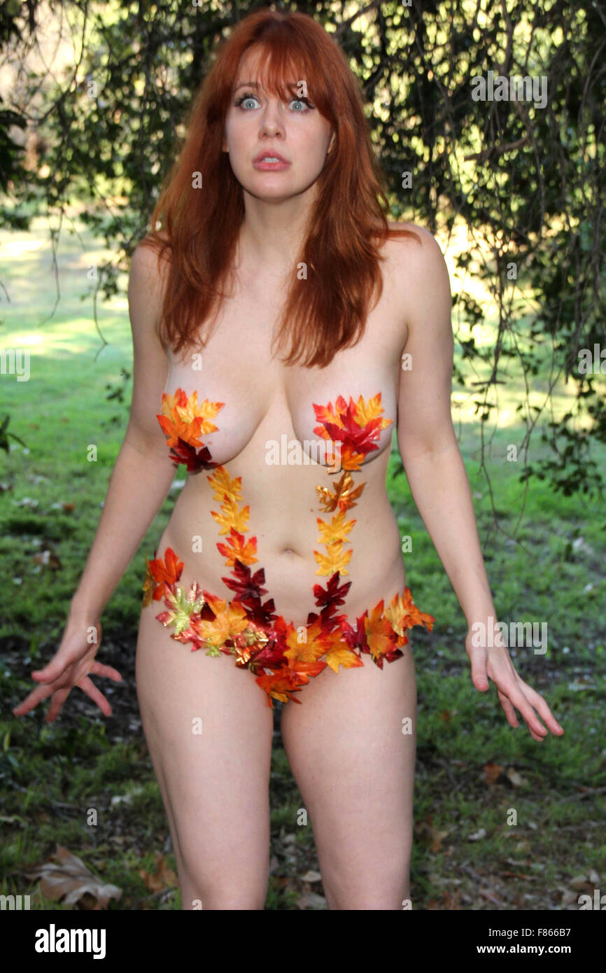 actress maitland ward poses as a woodland nymph for a photoshoot in