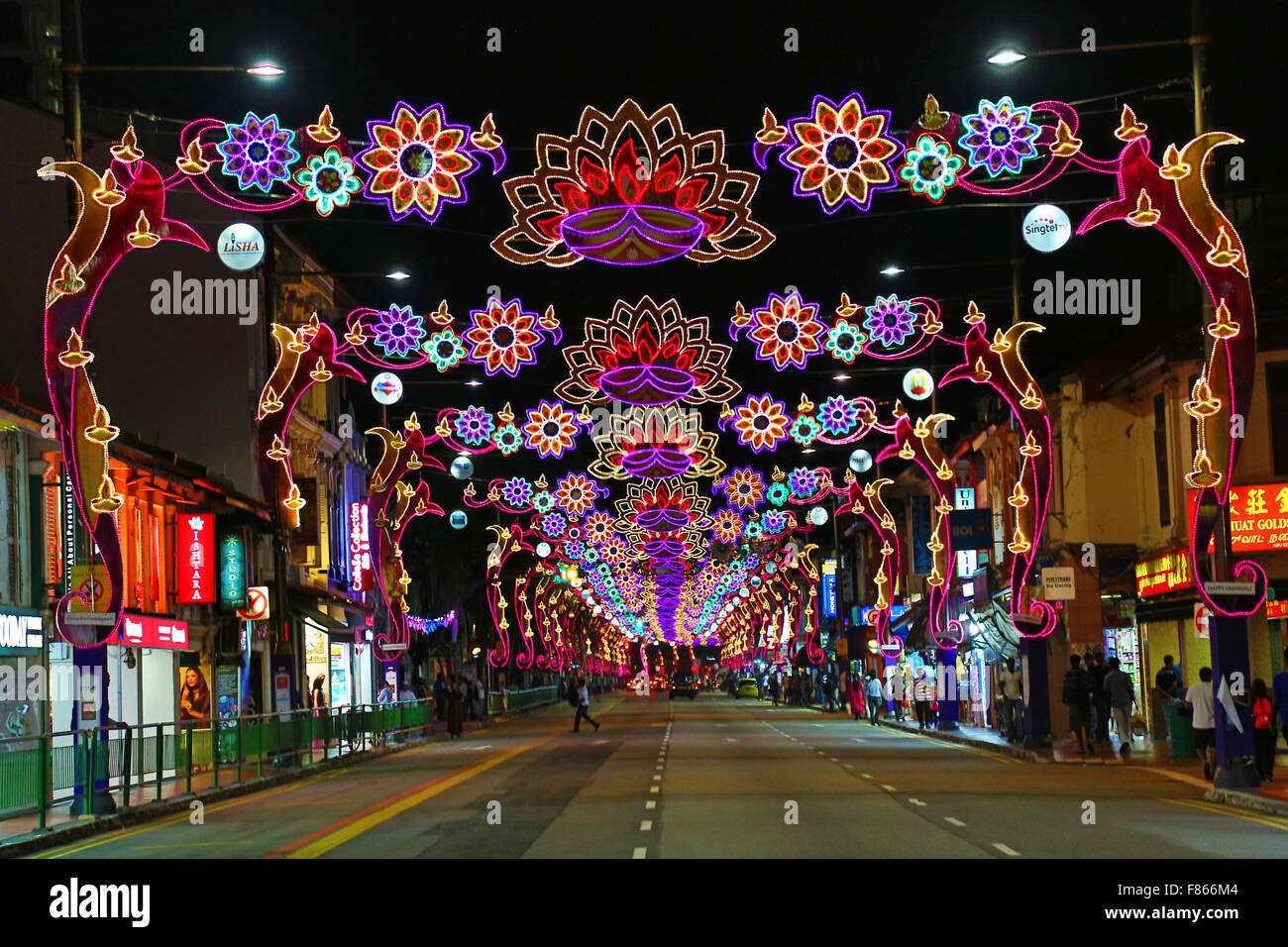 Street lights for Diwali in Singapore, Republic of Singapore - Stock Image