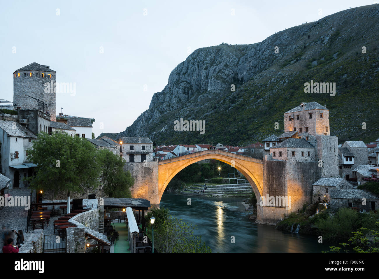 The Old Bridge in Mostar at sunset, Bosnia and Herzegovina - Stock Image