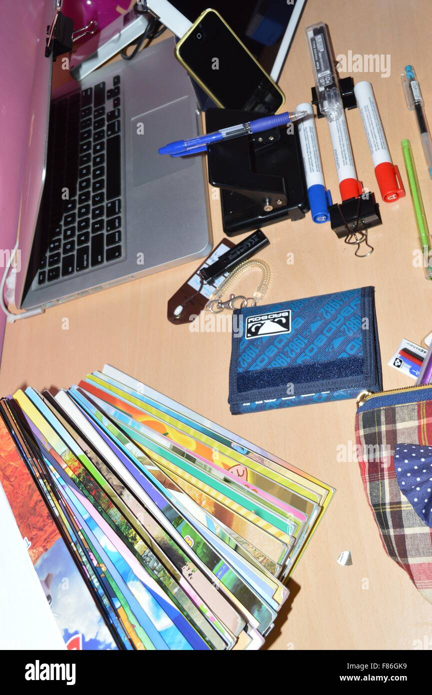 A Messy Study Table Of Student With Electronic Devices And Study Stuffs    Stock Image