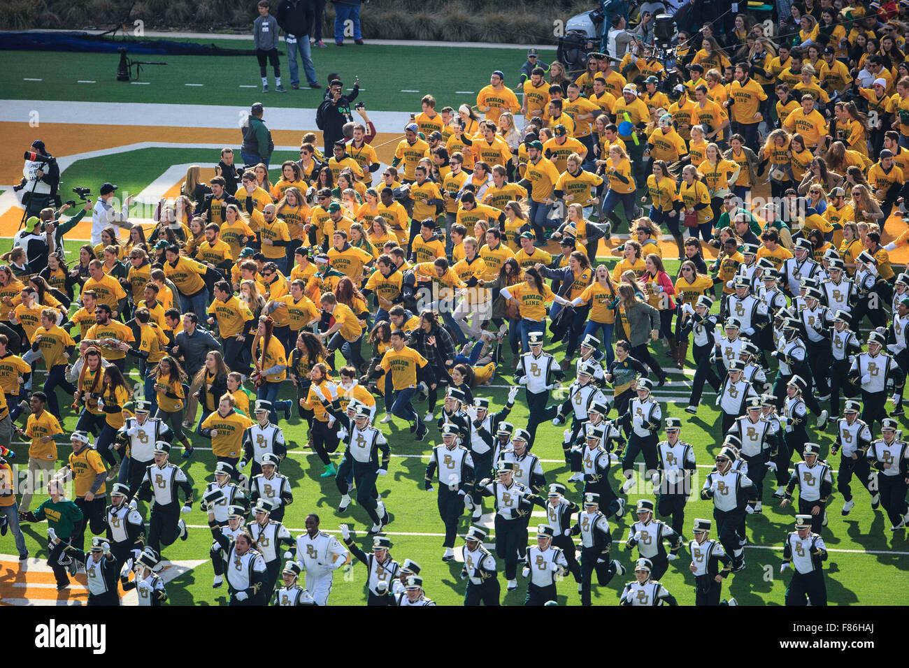 Waco, Texas, USA. 5th Dec, 2015. Baylor Bears line runs onto the field during the NCAA football game between Texas vs Baylor at McLane Stadium in Waco, Texas. © csm/Alamy Live News Stock Photo