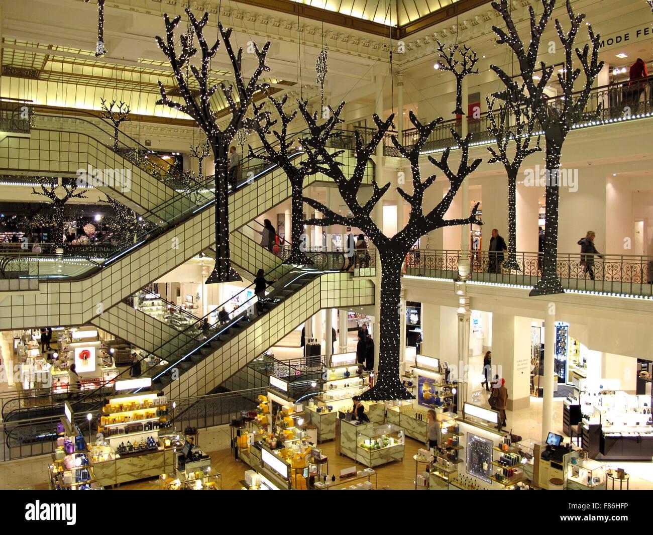 Le Bon Marche Department Store, Christmas Decoration, Paris, France, The  Iconic Central Escalators Designed By Andree Putman