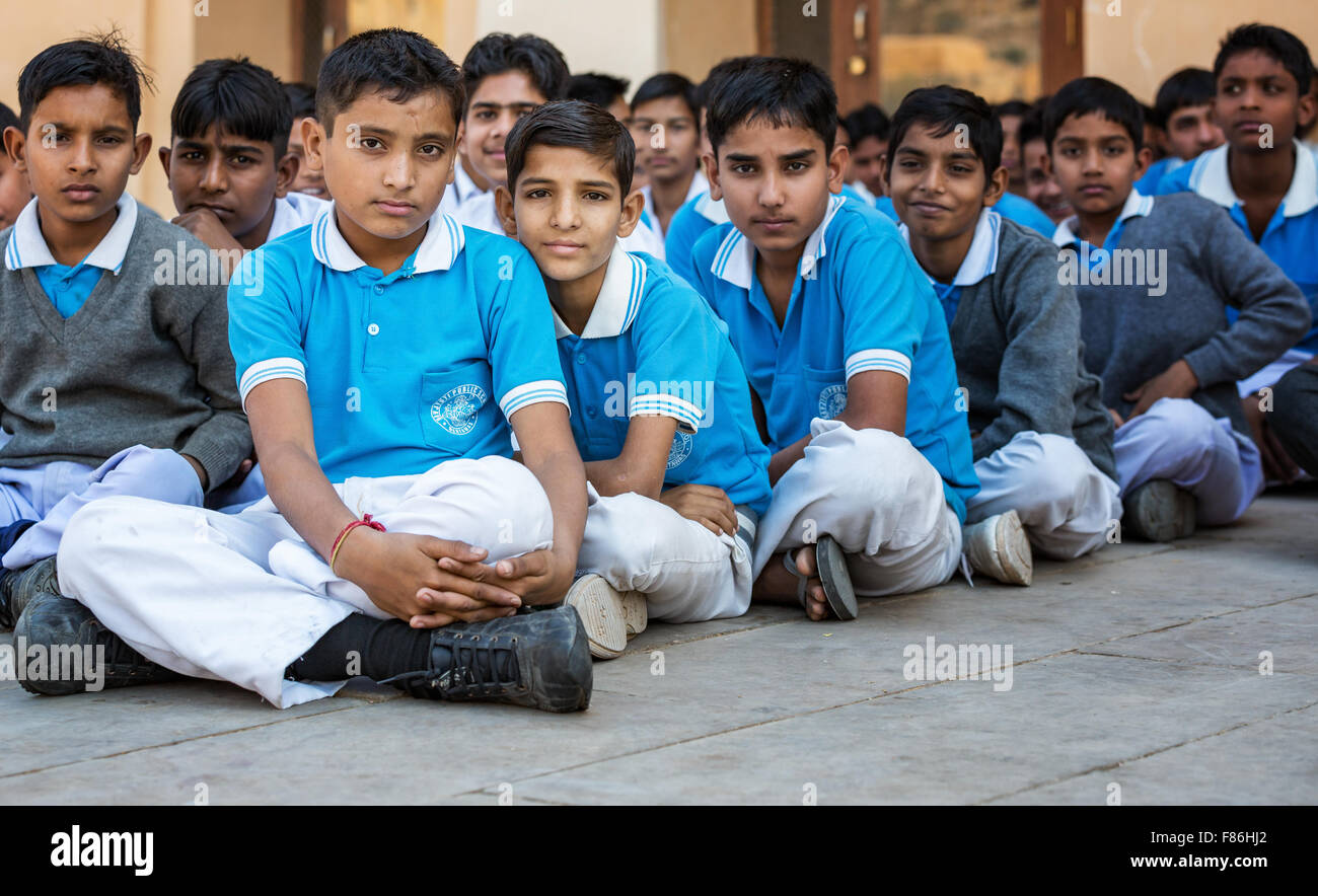Indian schoolboys, Amber Fort, Jaipur, India - Stock Image