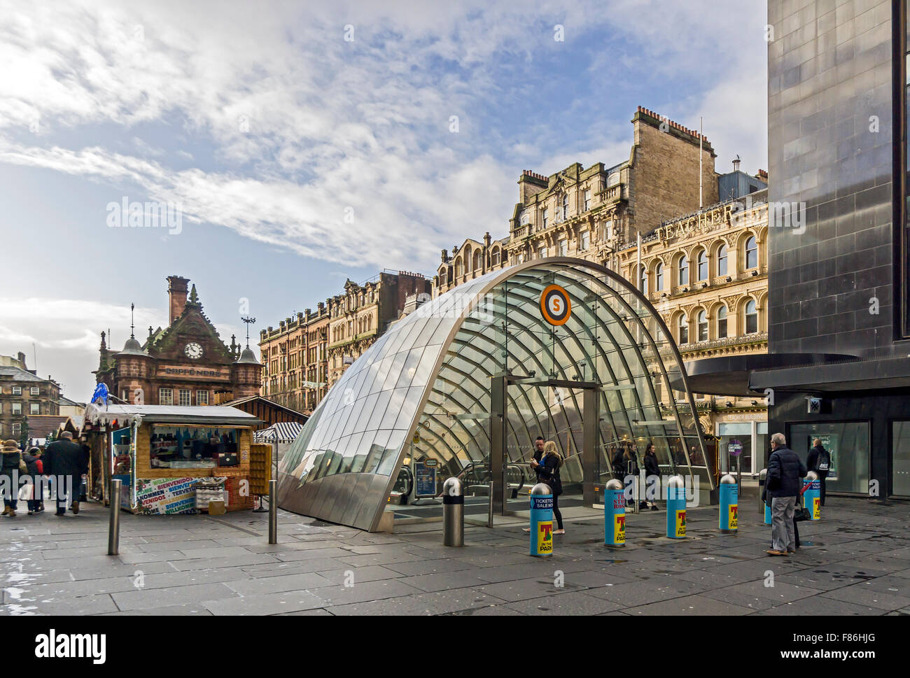 Glasgow Xmas market December 2015 in St. Enoch Square Glasgow Scotland with Subway entrance right - Stock Image