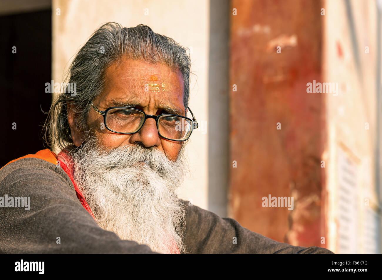 A Sadhu, holy man, Galtaji, Khania-Balaji, Jaipur, Rajasthan, India - Stock Image