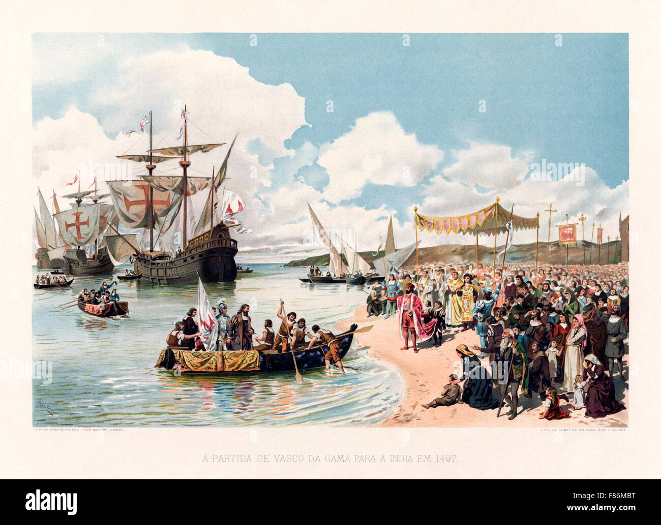 The departure of Vasco da Gama to India in 1497. On 8 July Vasco da Gama  led a fleet of four ships with a crew of 170 men from Lisbon, Portugal.