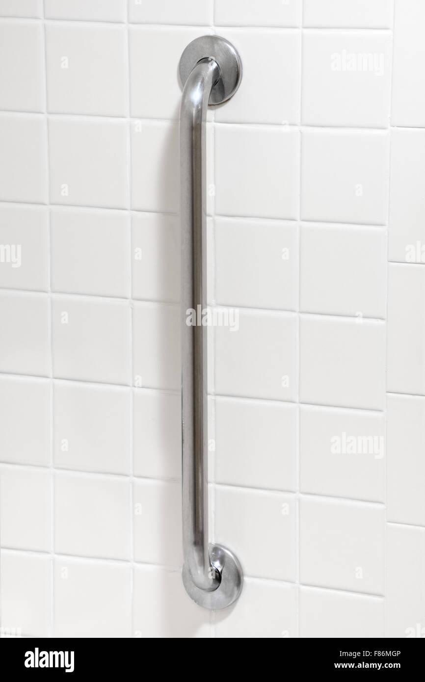 Safety grab bar in handicapped disabled access bathroom Stock Photo ...