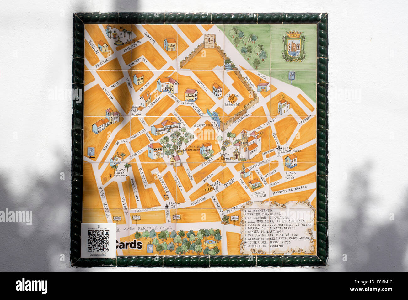 Old Town Map in Plaza de Naranjas Orange Square in the Stylist Town