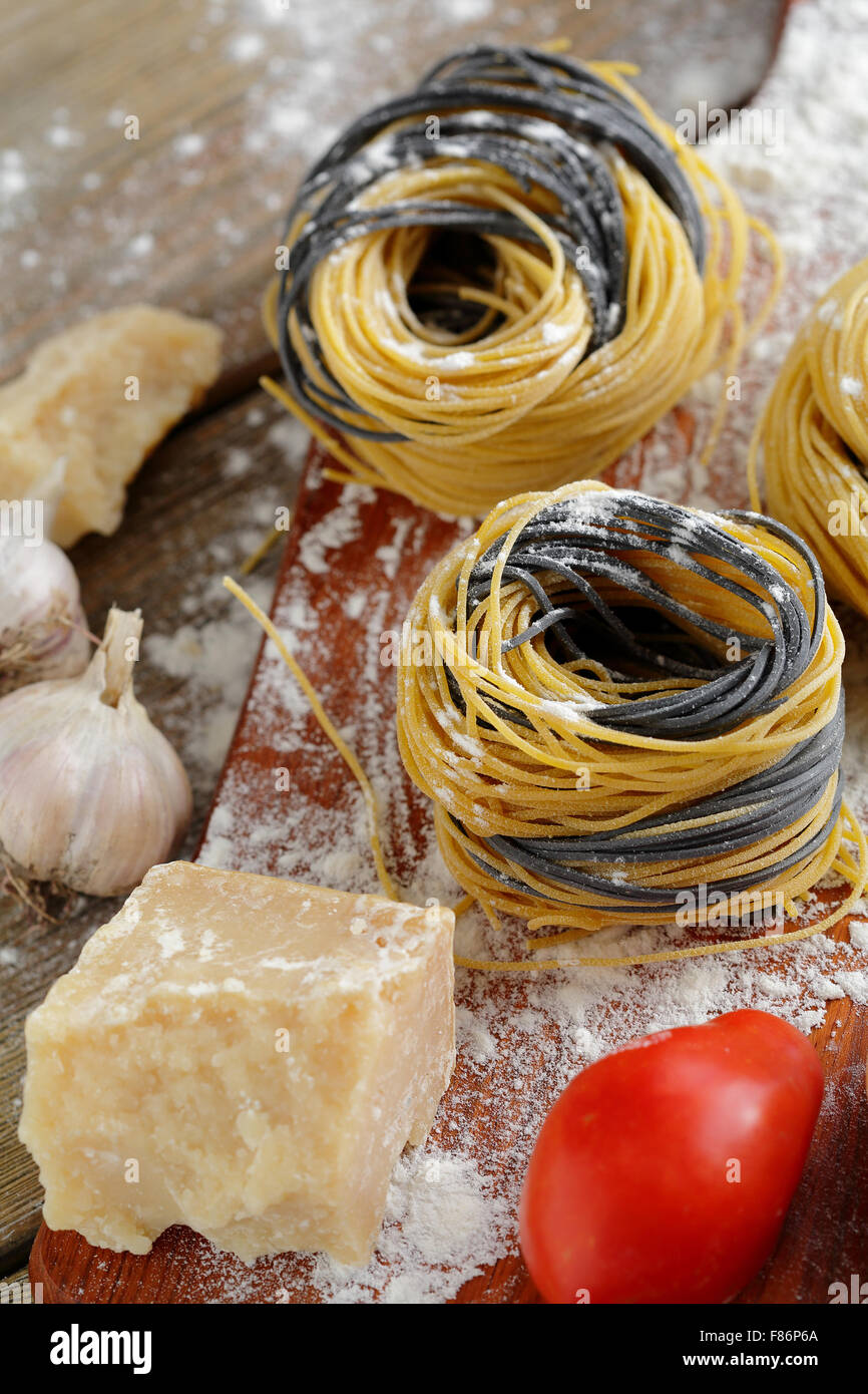 raw pasta with cheese close-up - Stock Image