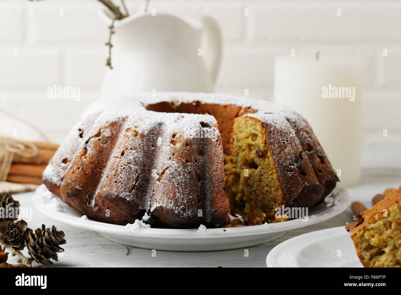 christmas cake, food closeup - Stock Image