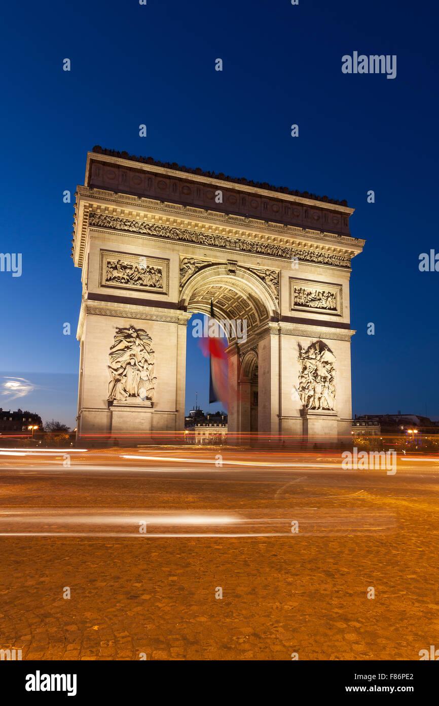 Arc de Triomphe in the Charles de Gaulle square, Paris, Ile-de-France, France - Stock Image
