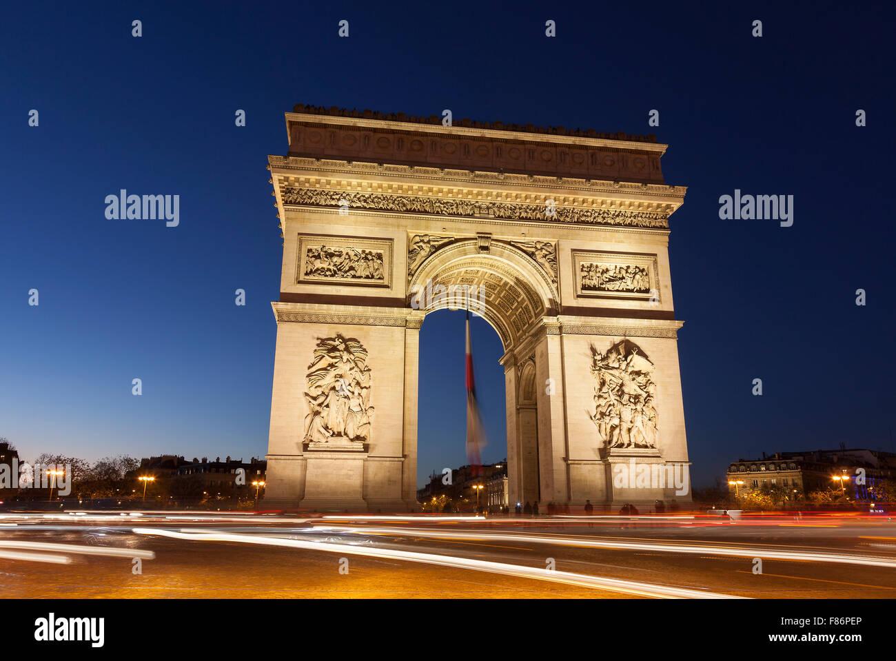 Arc de Triomphe in the Charles de Gaulle square, Paris, Ile-de-France, France Stock Photo