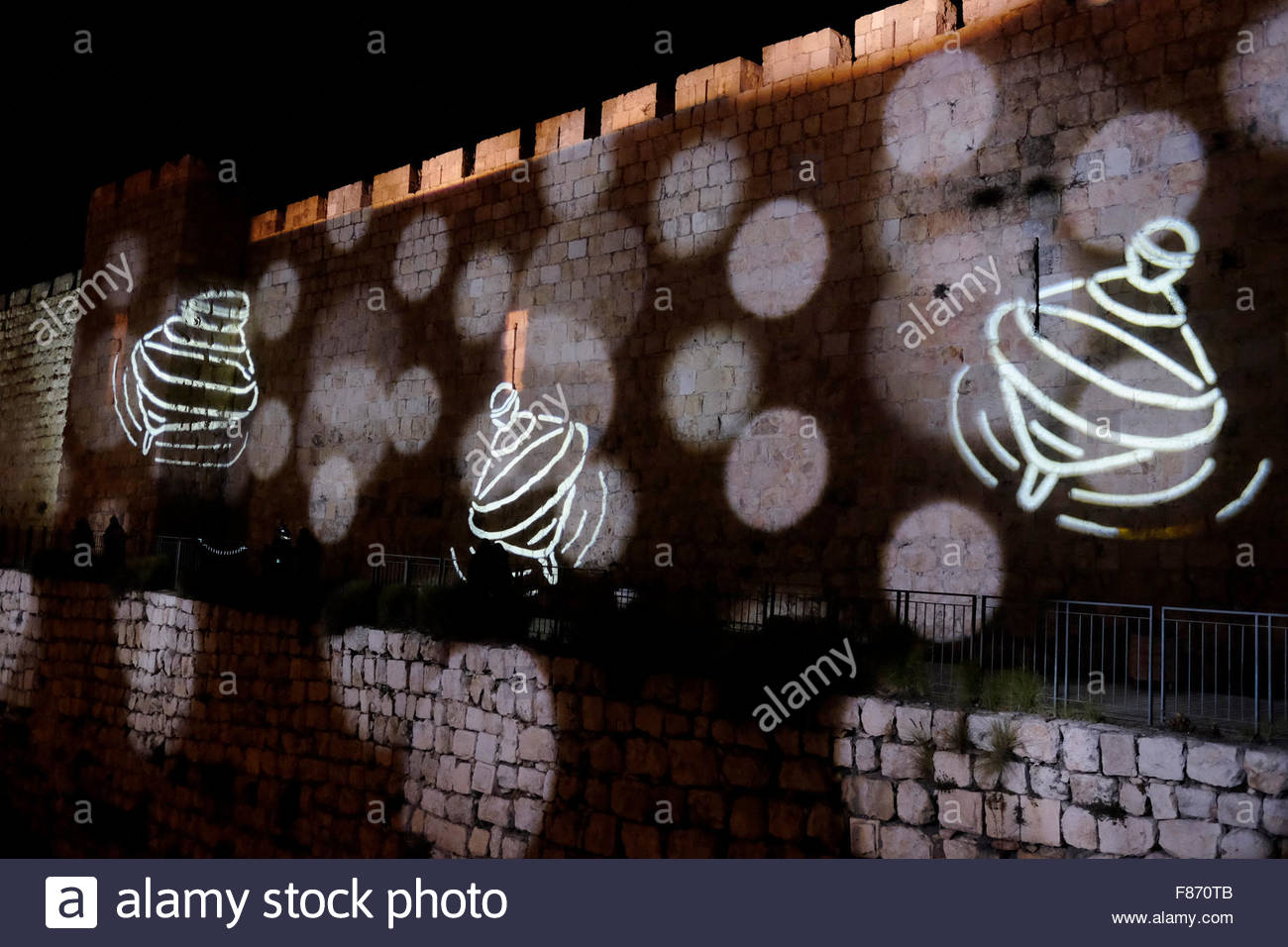 Jerusalem, Israel. 6th December, 2015. Images of Dridels which are a spinning top traditionally played with during - Stock Image