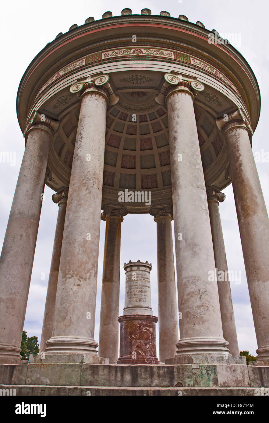 Munich, Germany -  Monopteros at Englischer Garten, low angle view. Round temple in ancient Greek style, built on - Stock Image